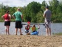 Family learning the basics of kayaking