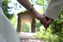 Holding hands after wedding at Deerfield Nature Park