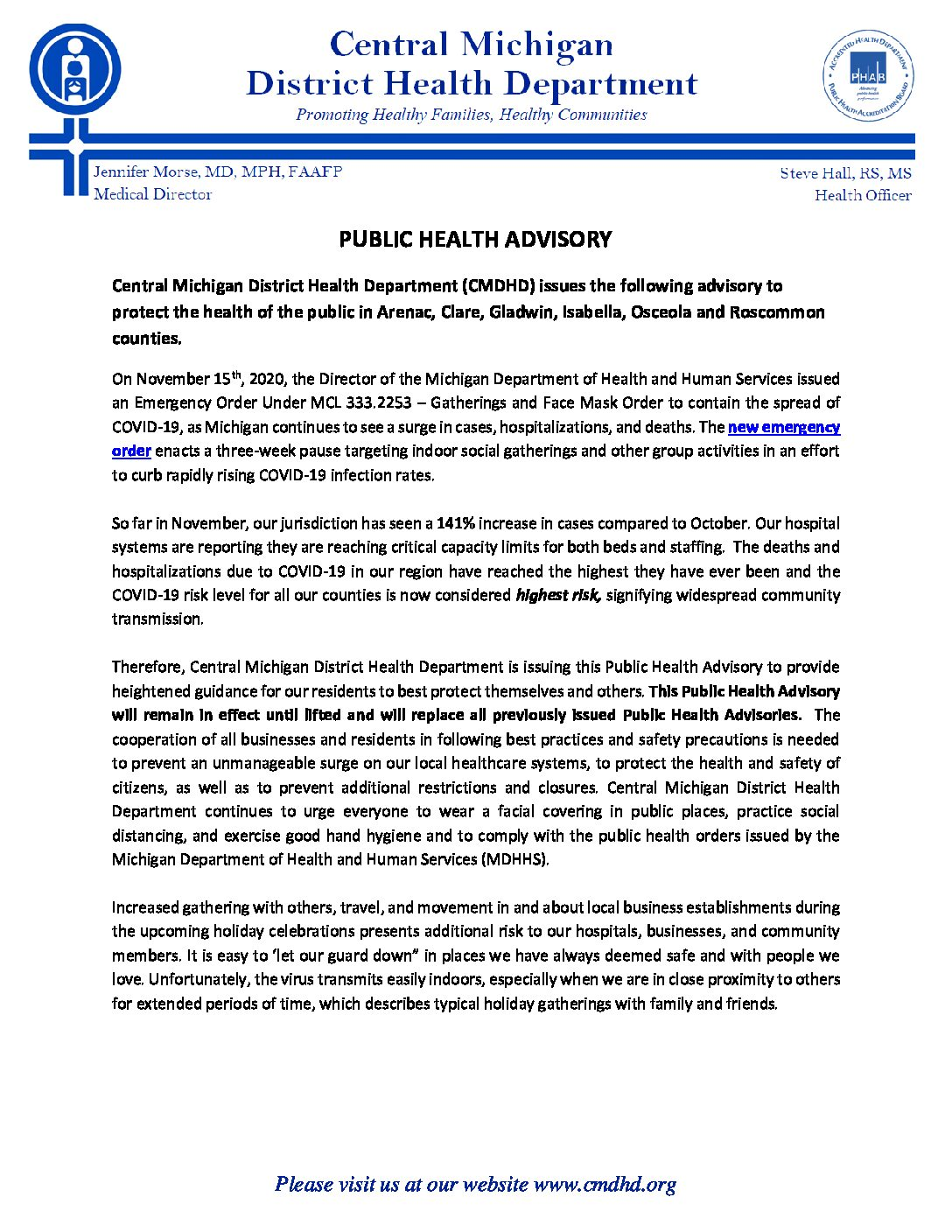 preview image of first page Central Michigan District Health Department (CMDHD) issues the following advisory