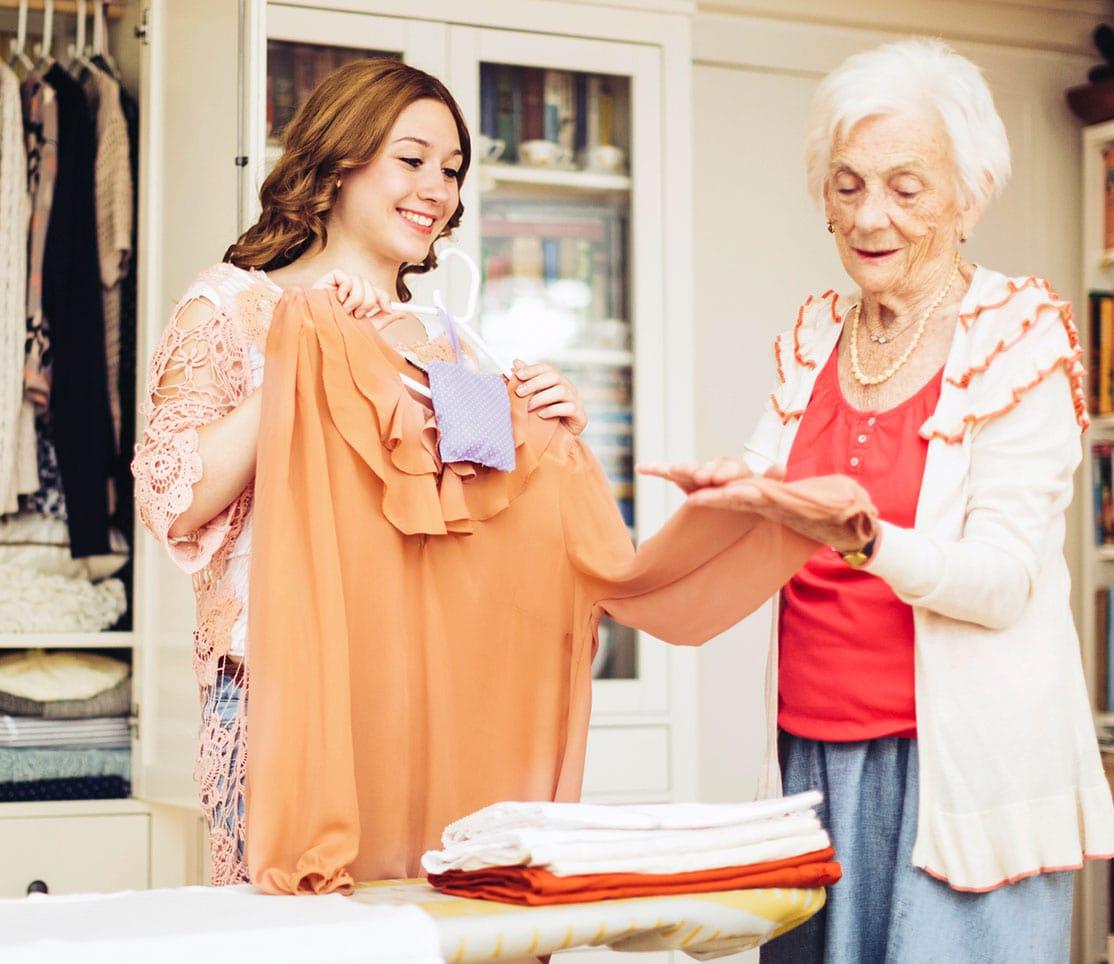 Home maker helper providing housekeeping service for older adult.