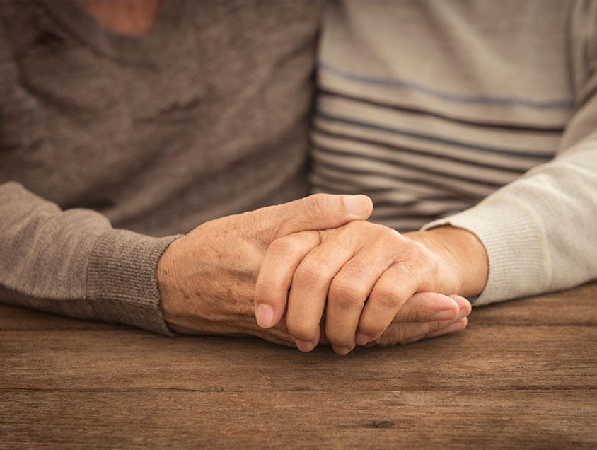 holding hands, elderly hand