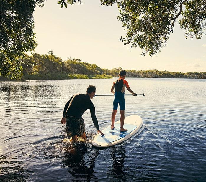 paddle boarding on lake