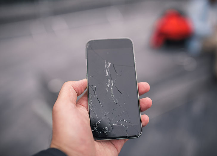 damaged cell phone