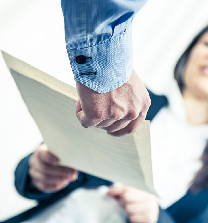 handing over a document