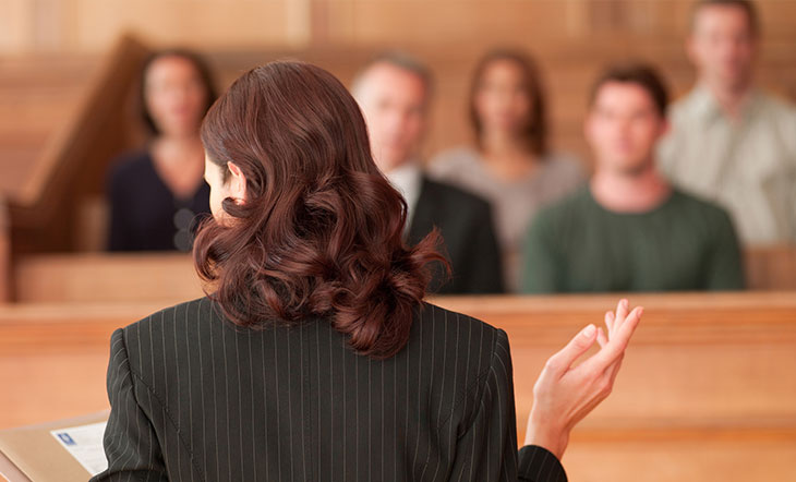 lawyer talking to court room