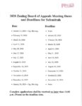 preview image of first page 2020 Zoning Board of Appeals Meeting Deadlines