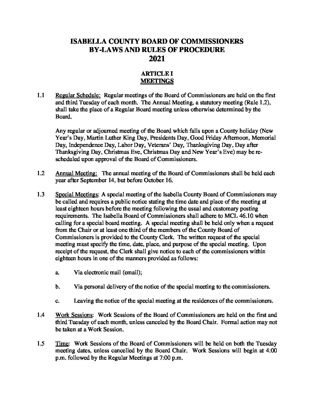 preview image of first page Isabella County Board of Commissioners By-Laws and Rules of Procedures