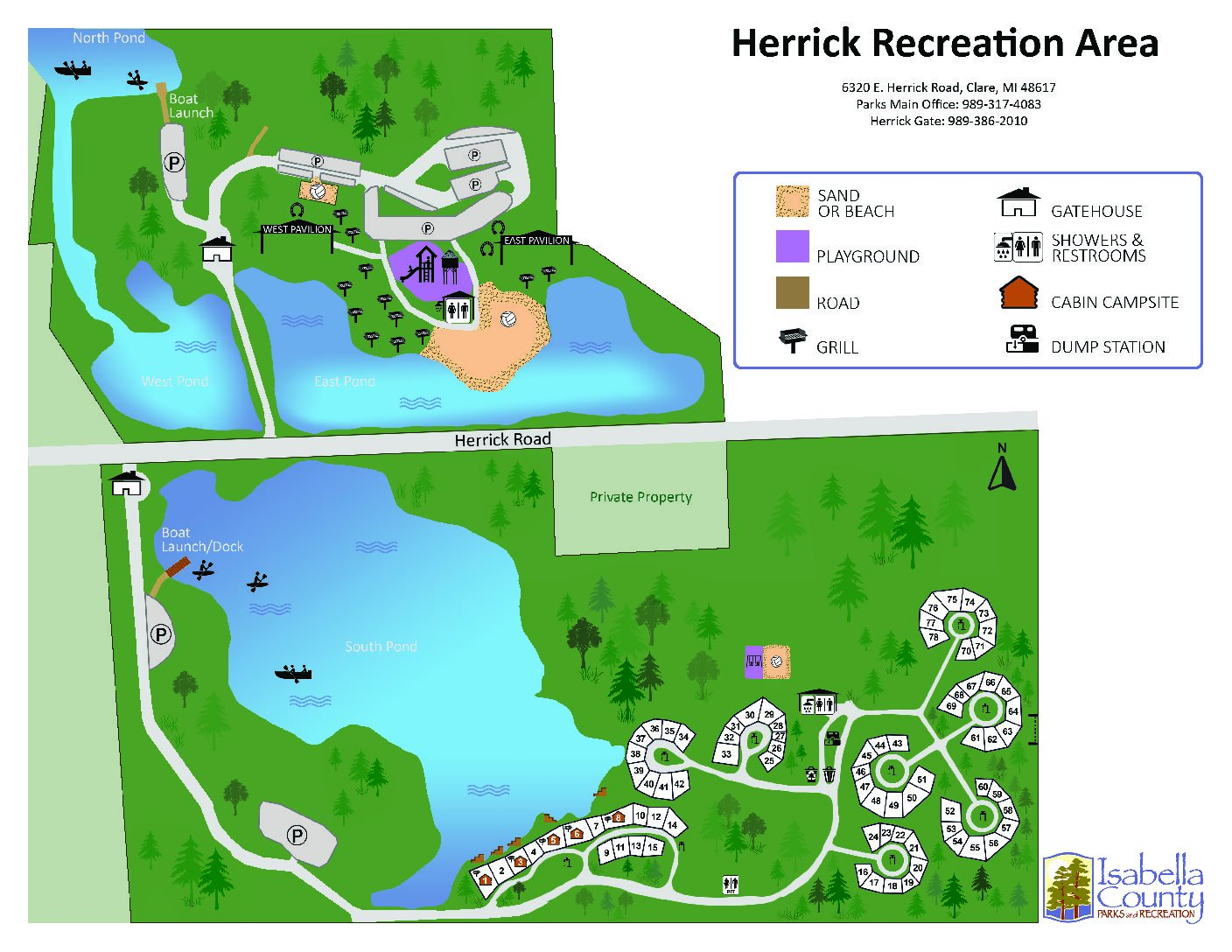 preview image of first page Herrick Recreation Area Site Park Map