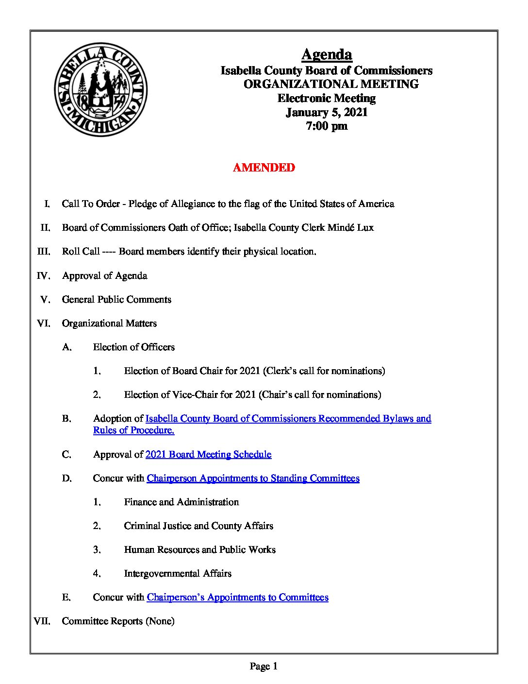 preview image of first page January 5, 2021 Organizational Meeting Agenda