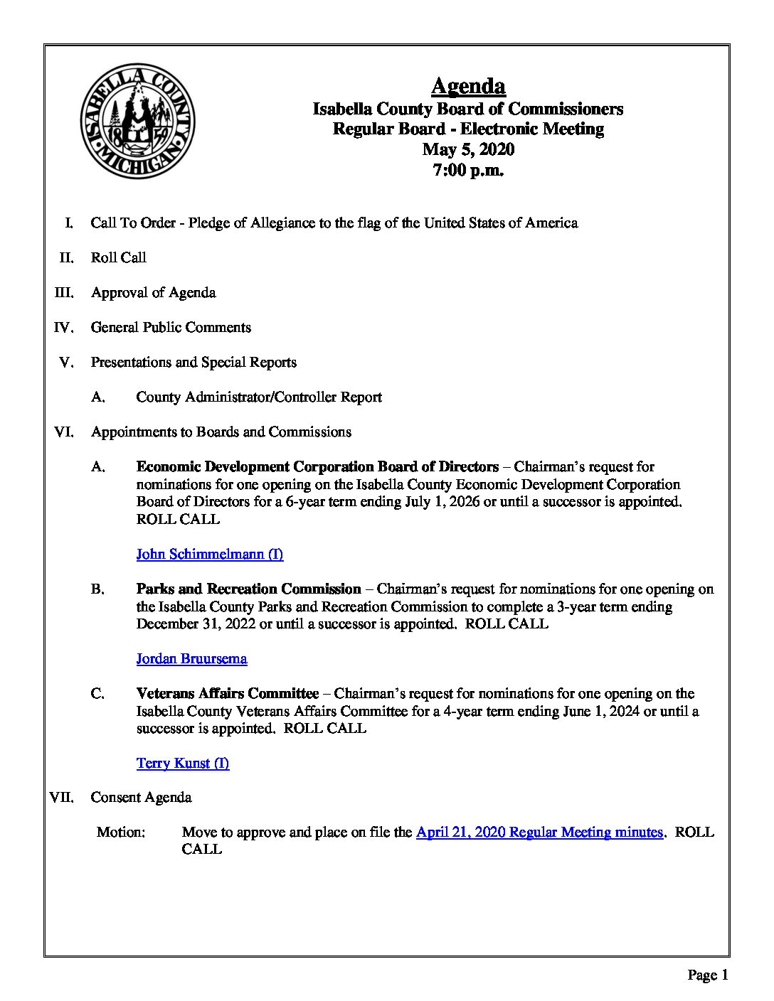 preview image of first page May 5, 2020 Agenda