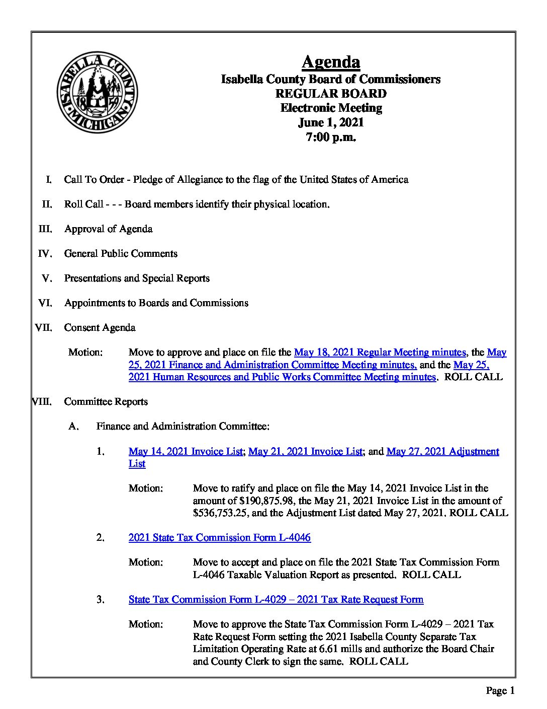preview image of first page June 1, 2021 Agenda