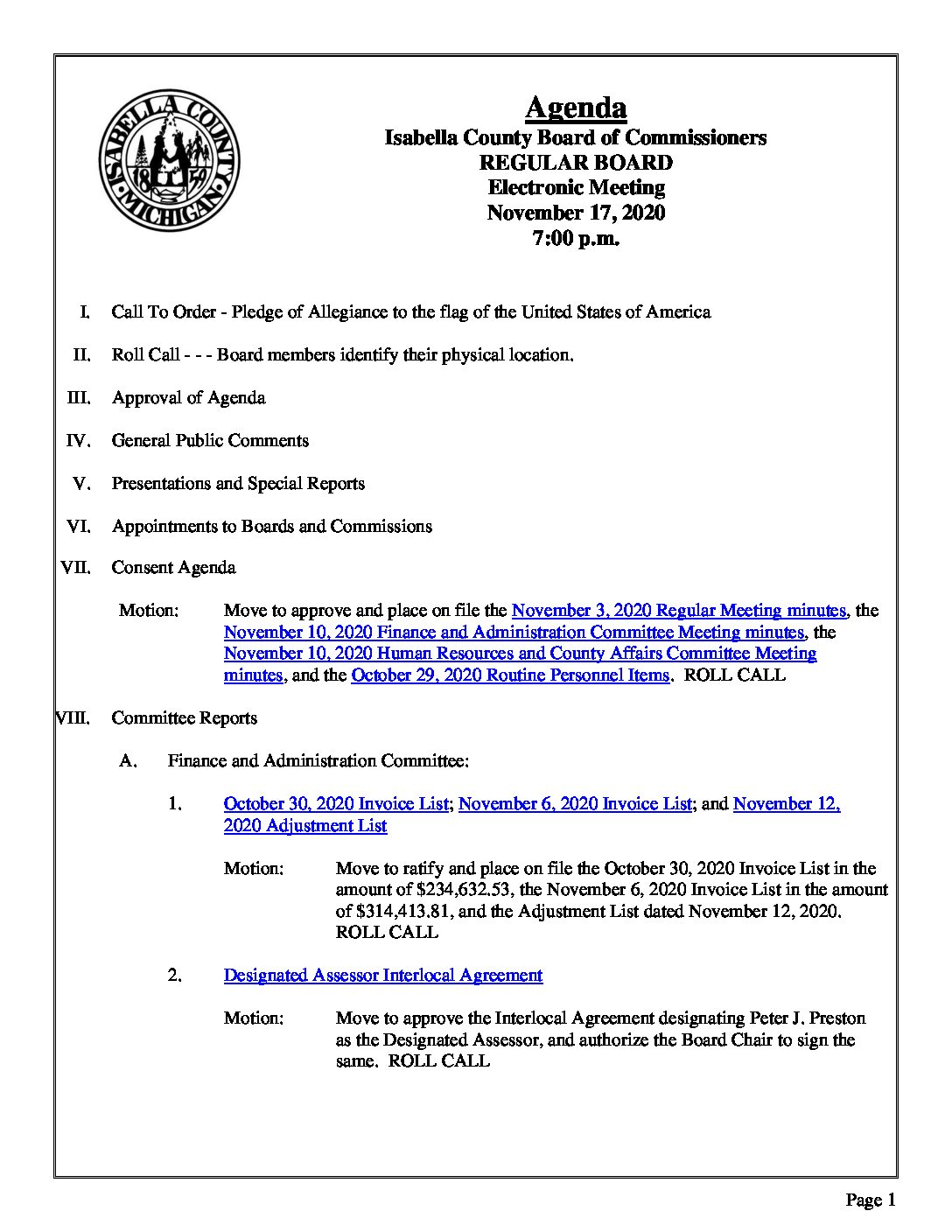 preview image of first page November 17, 2020 Agenda