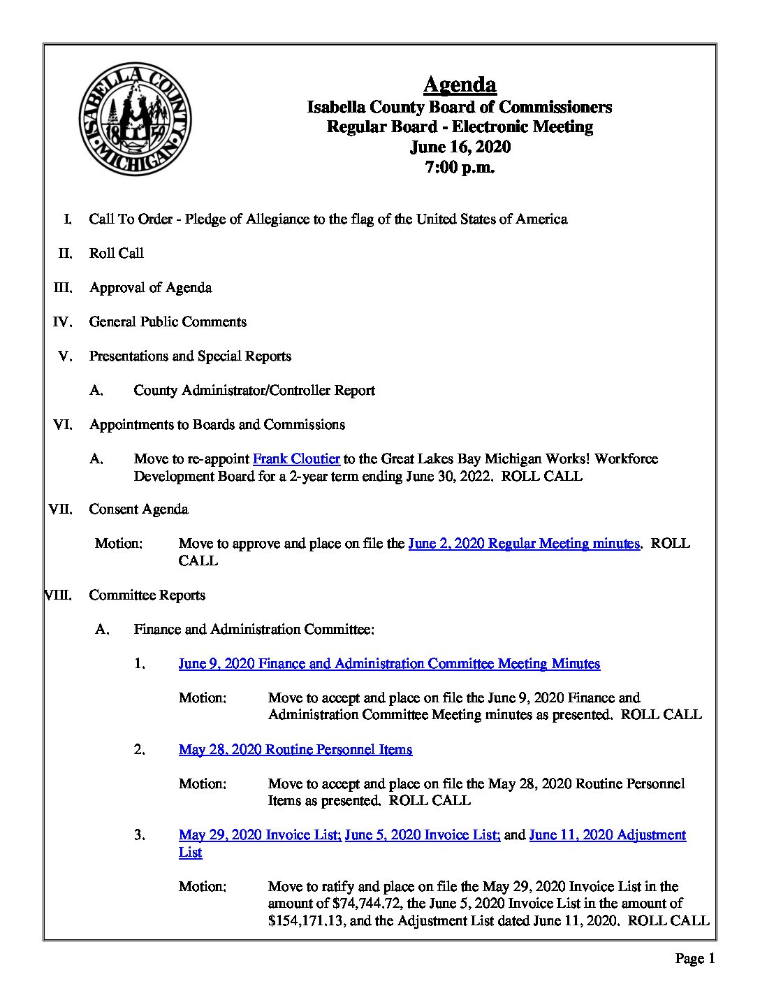 preview image of first page June 16, 2020 Agenda