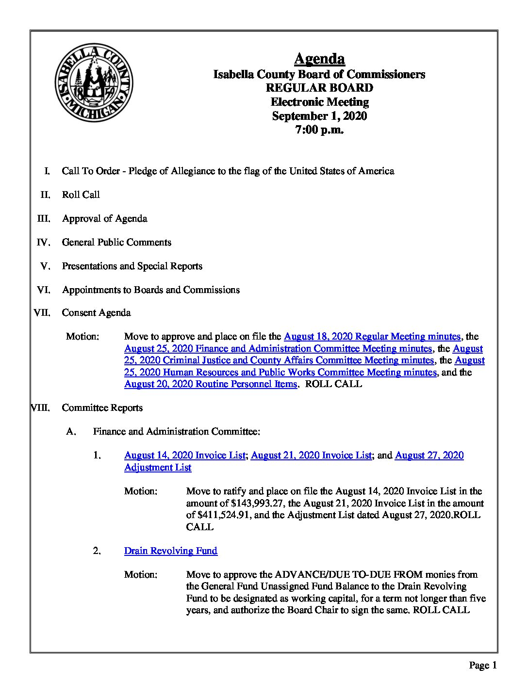 preview image of first page September 1, 2020 Agenda