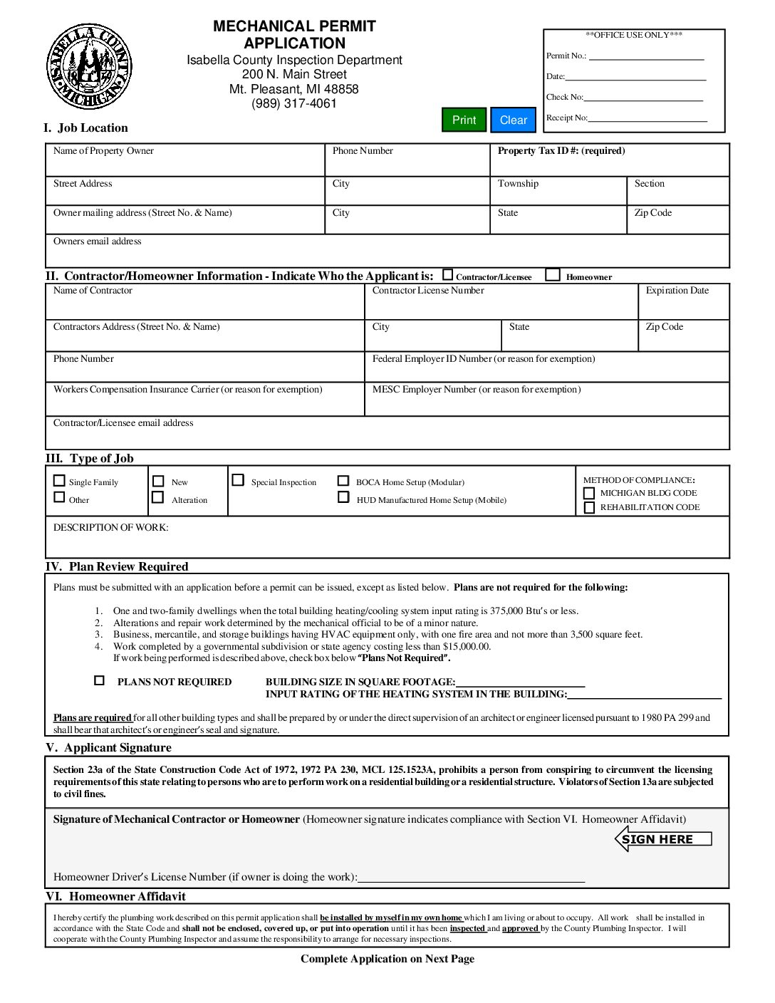 preview image of first page Mechanical Permit Application