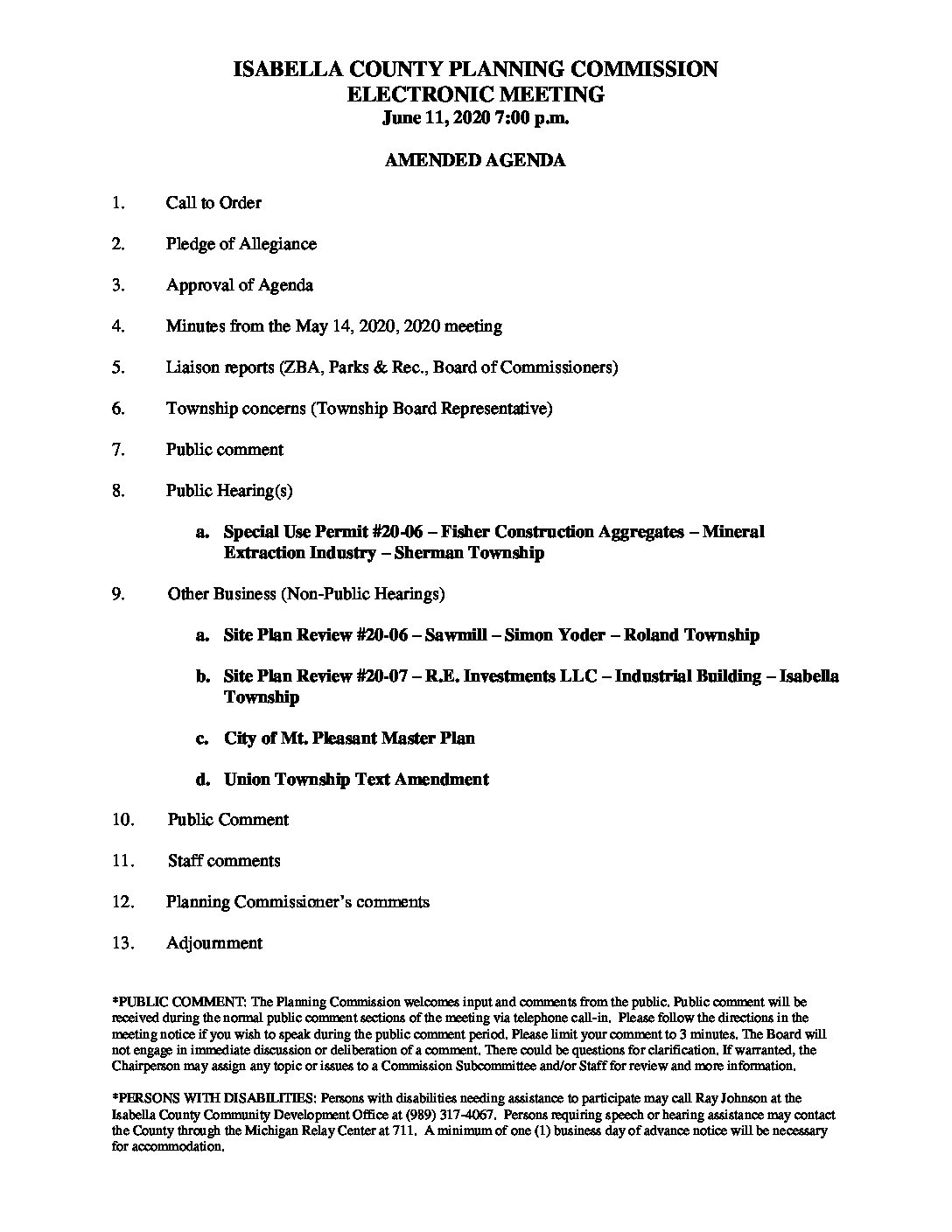 preview image of first page June 11, 2020 Amended Agenda