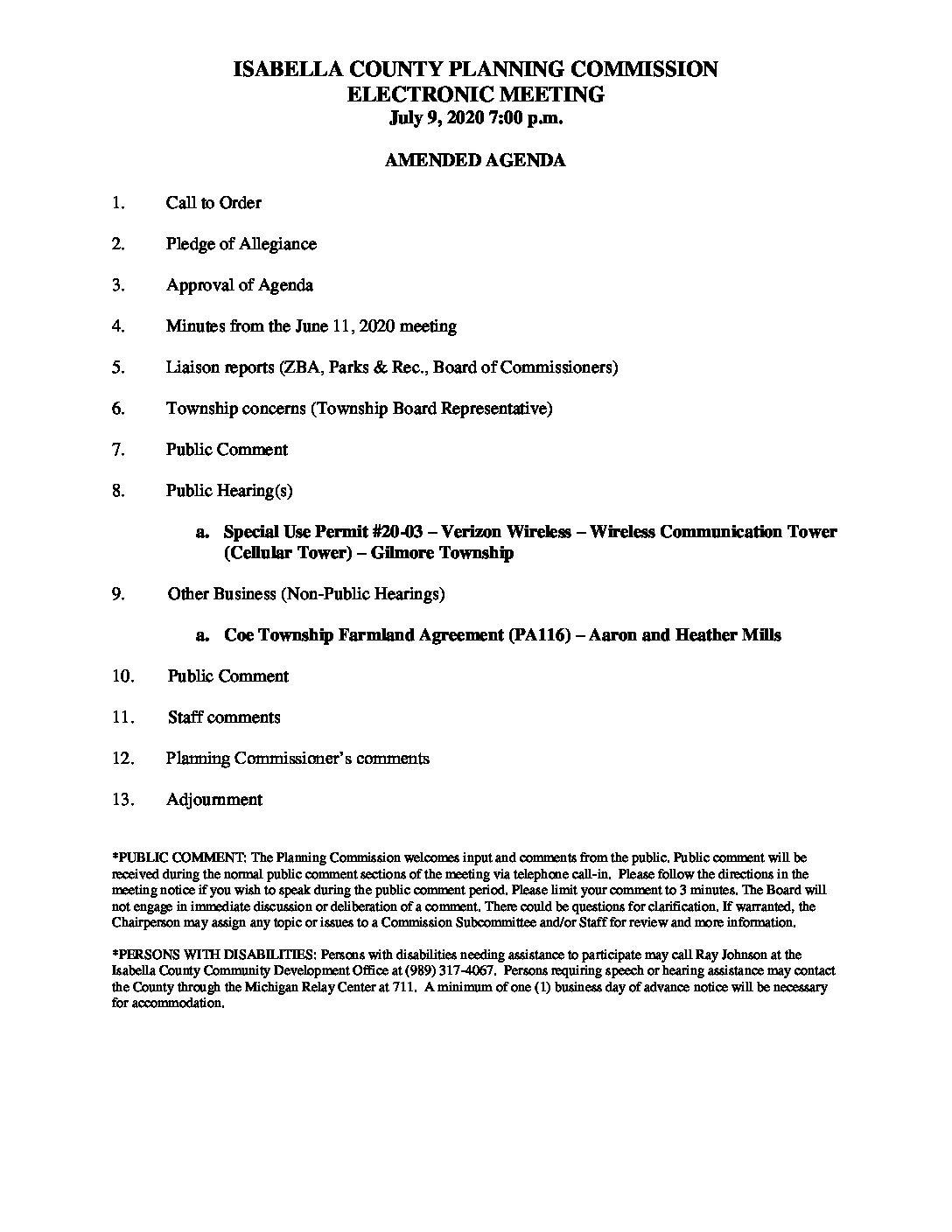 preview image of first page July 9, 2020 Amended Agenda