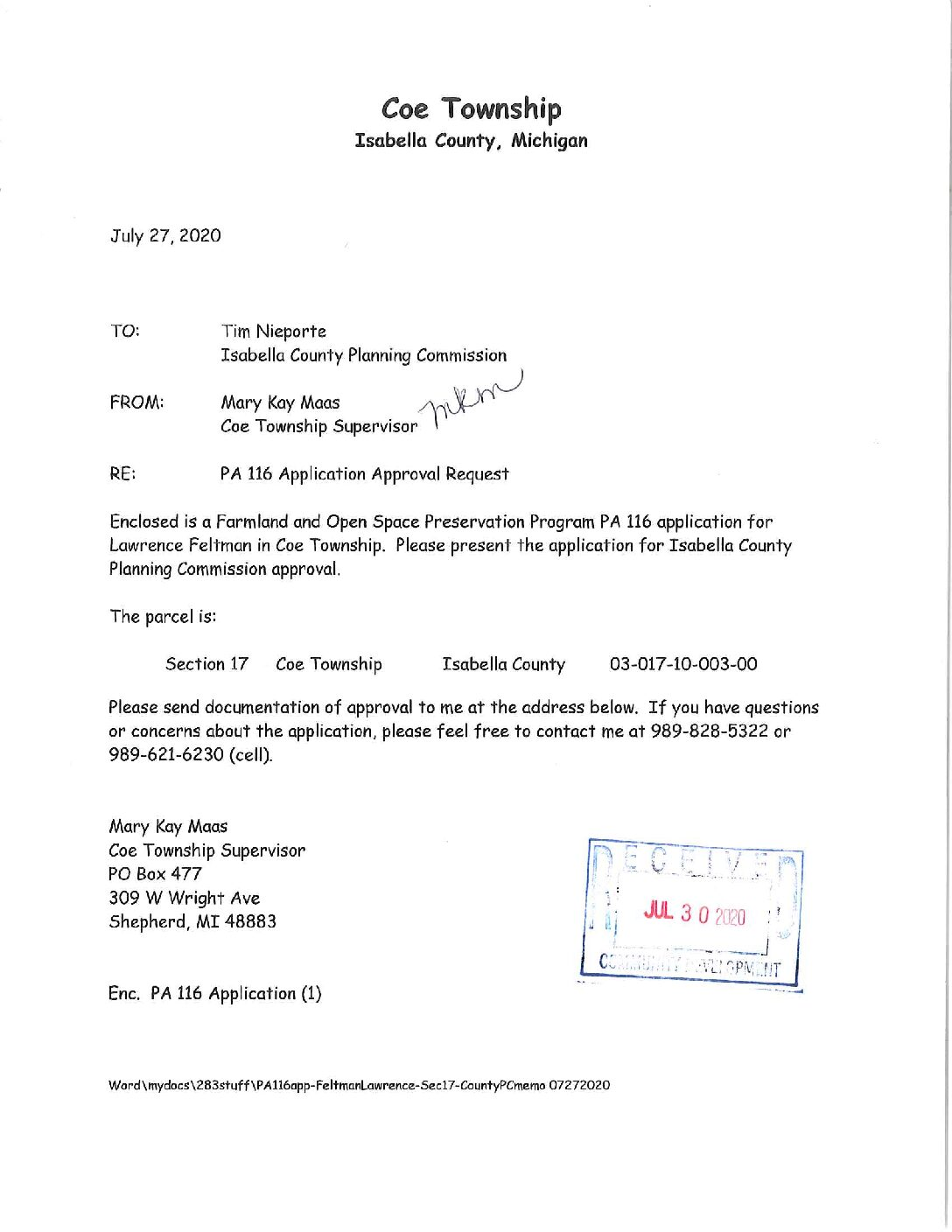 preview image of first page Farmland Agreements (PA116) – Coe Township and Lincoln Township