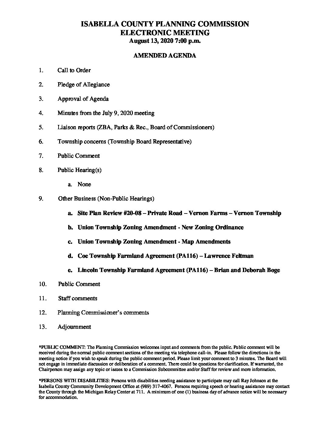 preview image of first page August 13, 2020 Amended Agenda