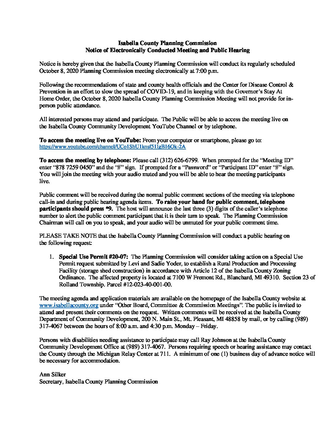 preview image of first page October 8, 2020 Meeting Notice and Public Hearing Notice