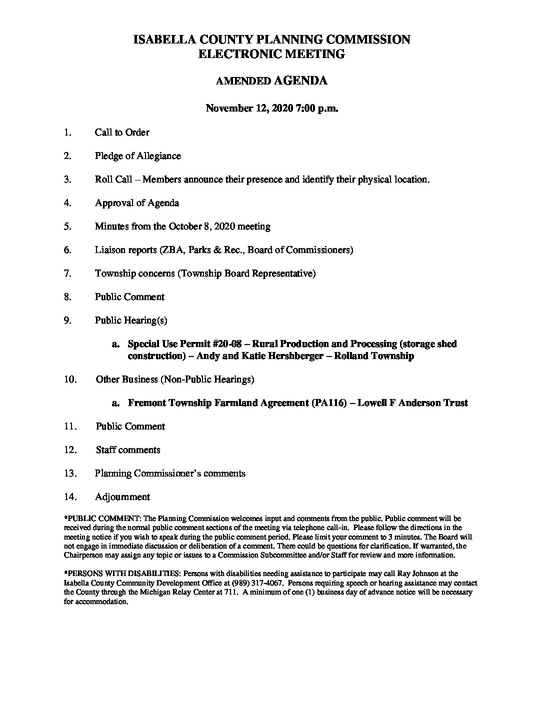 preview image of first page November 12, 2020 Amended Agenda