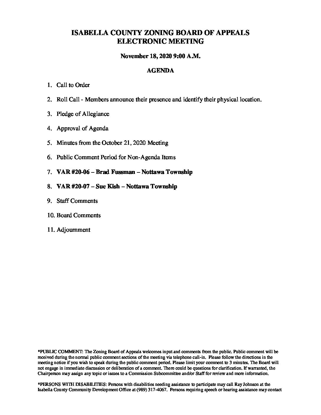 preview image of first page November 18, 2020 Agenda