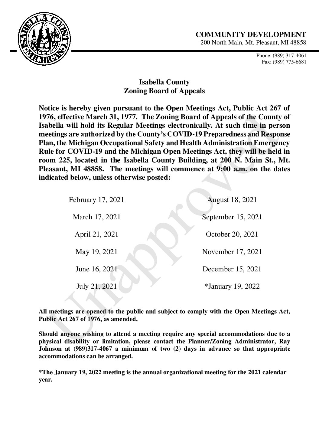 preview image of first page 2021 Zoning Board of Appeals Proposed Meeting Calendar