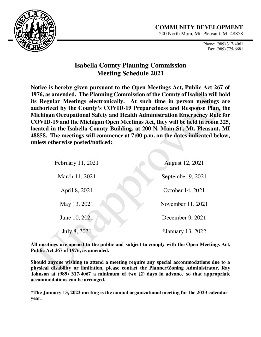 preview image of first page 2021 Proposed Planning Commission Meeting Schedule