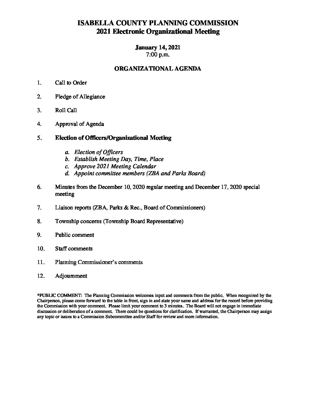 preview image of first page January 14, 2021 Planning Commission Agenda