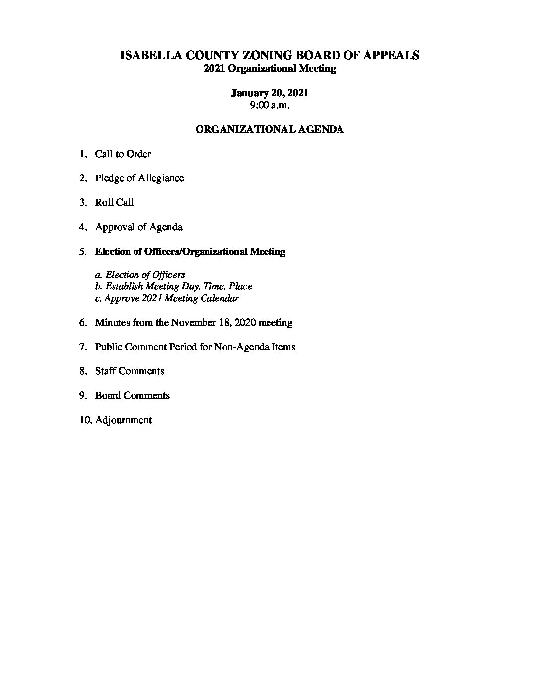 preview image of first page January 20, 2021 Zoning Board of Appeals Agenda