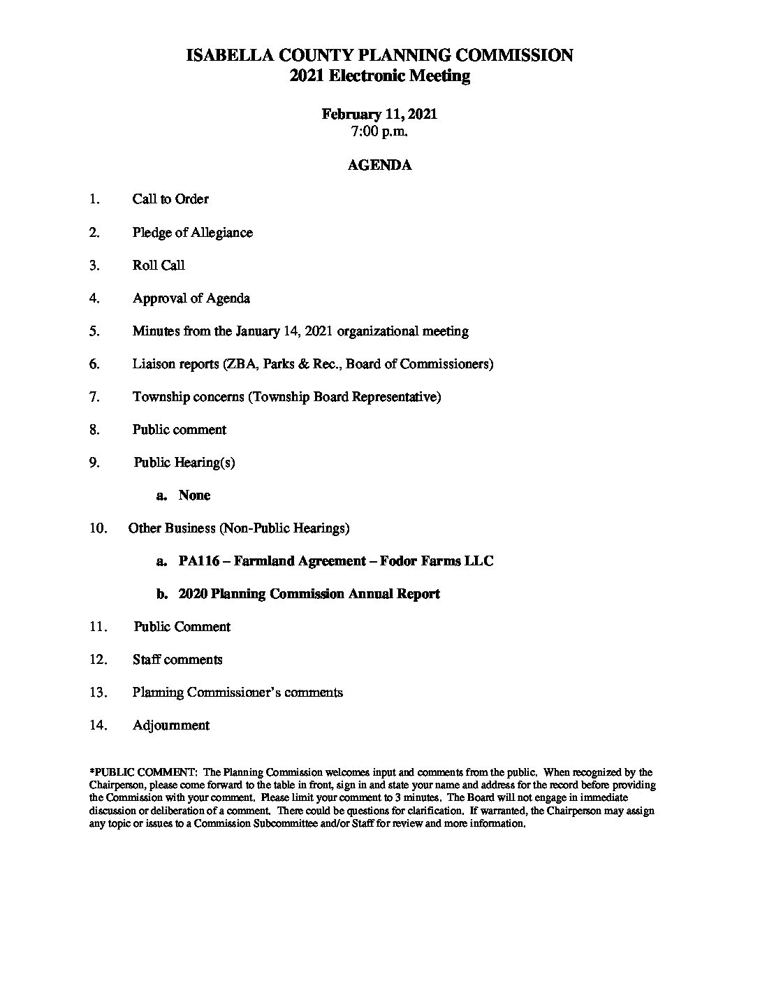 preview image of first page February 11, 2021 Planning Commission Agenda