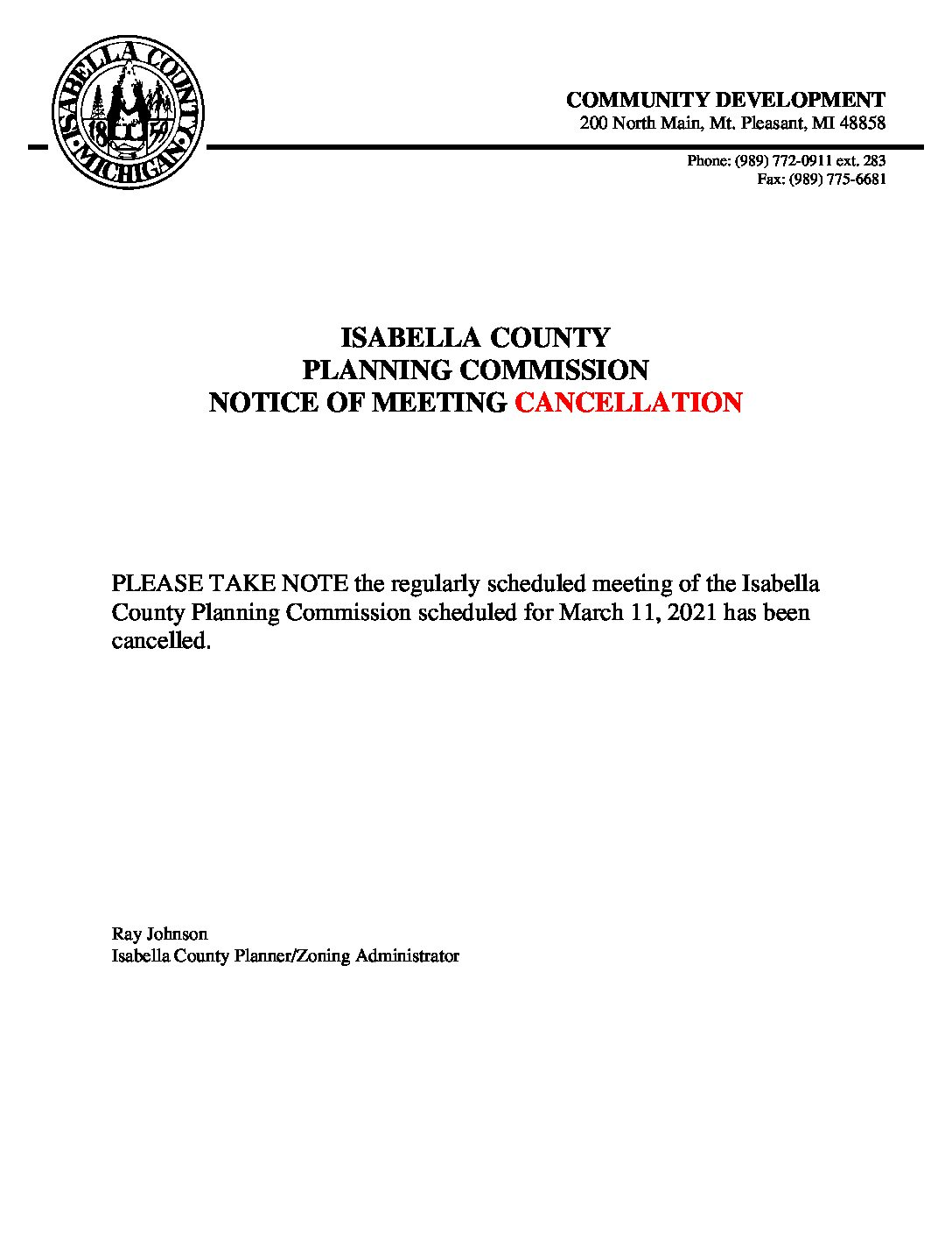preview image of first page March 11, 2021 Cancellation Notice