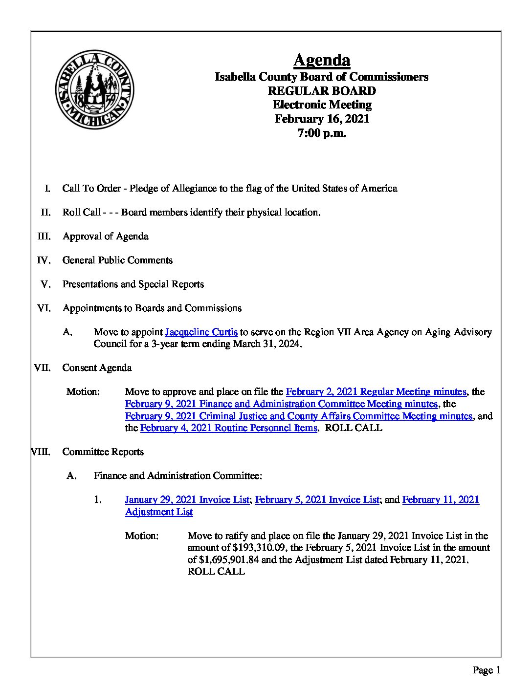 preview image of first page February 16, 2020 Agenda