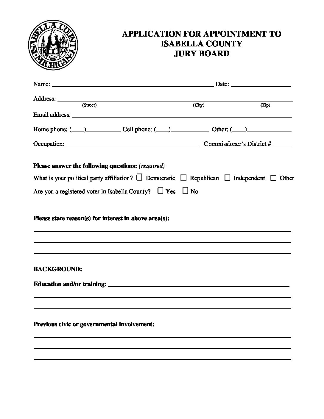 preview image of first page Isabella County Jury Board Application