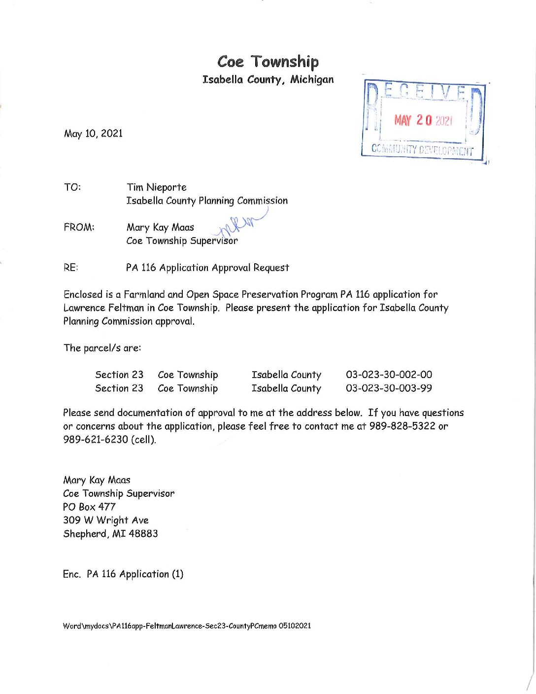 preview image of first page Farmland Agreement (PA116) – Larence Feltman – Coe Township