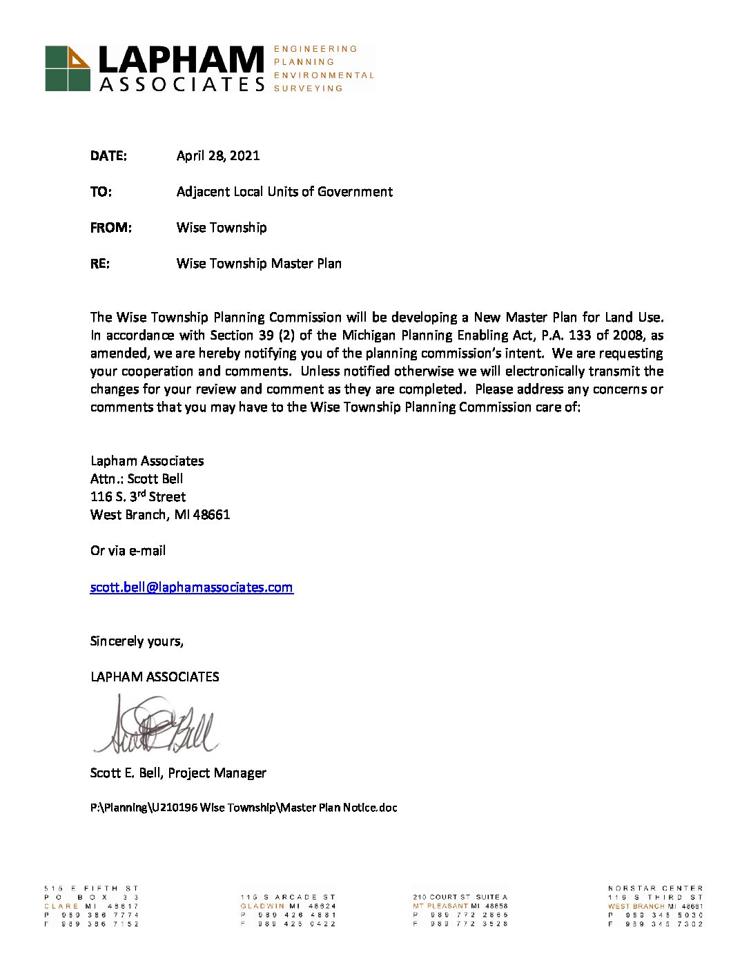 preview image of first page Wise Township Letter of Intent – Master Plan