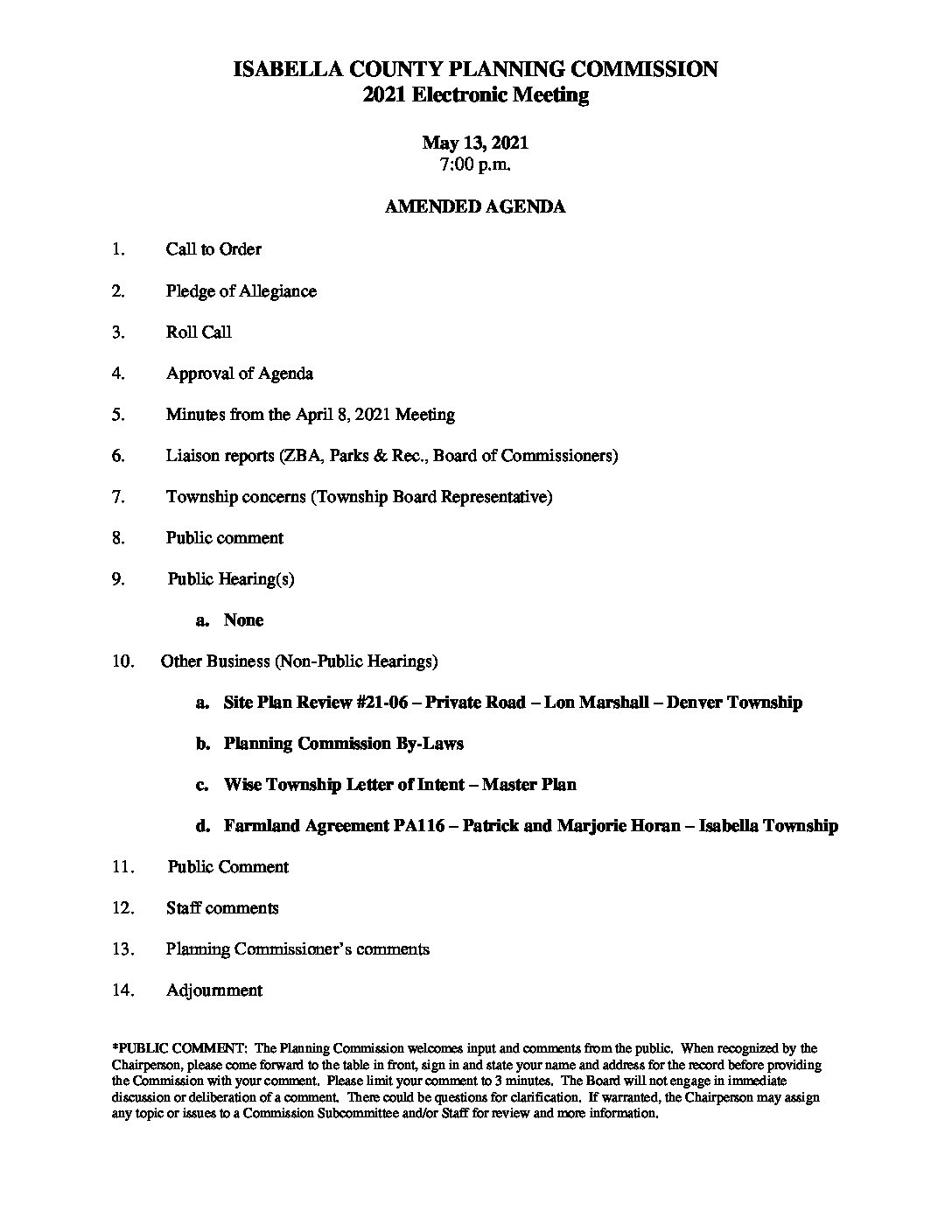 preview image of first page May 13, 2021 – Amended Agenda